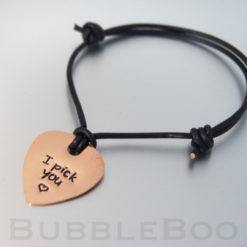 Personalised Copper Guitar Pick Bracelet