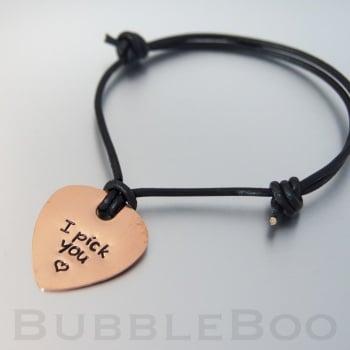 Personalised Copper Guitar Pick Bracelet