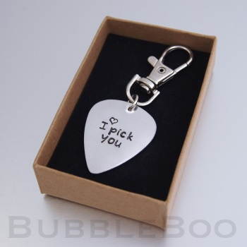 Personalised Aluminium Guitar Pick Key Ring