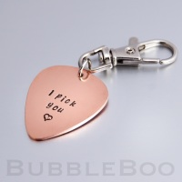 Personalised Copper Guitar Pick Key Ring