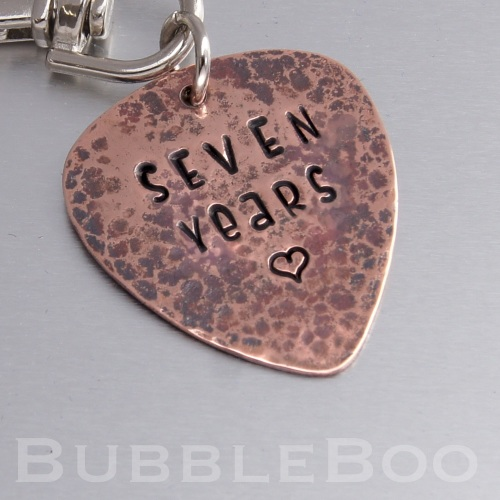 Seven Year Anniversary Gift. Copper Guitar Pick Keyring