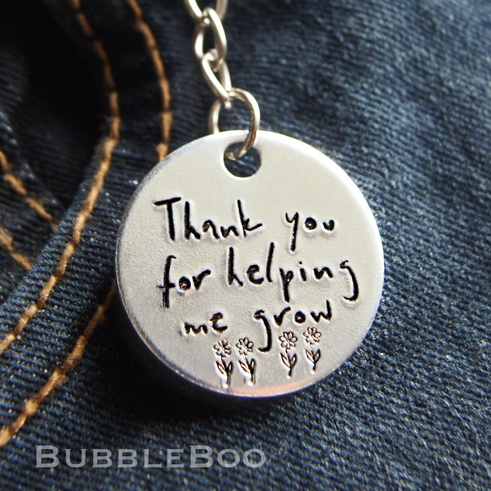 Teacher Gift Keyring - Thank you for helping me grow