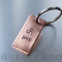 Personalised Monogrammed Copper Keyring