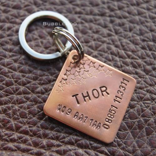 Pet Name Personalised Copper Diamond Tag.