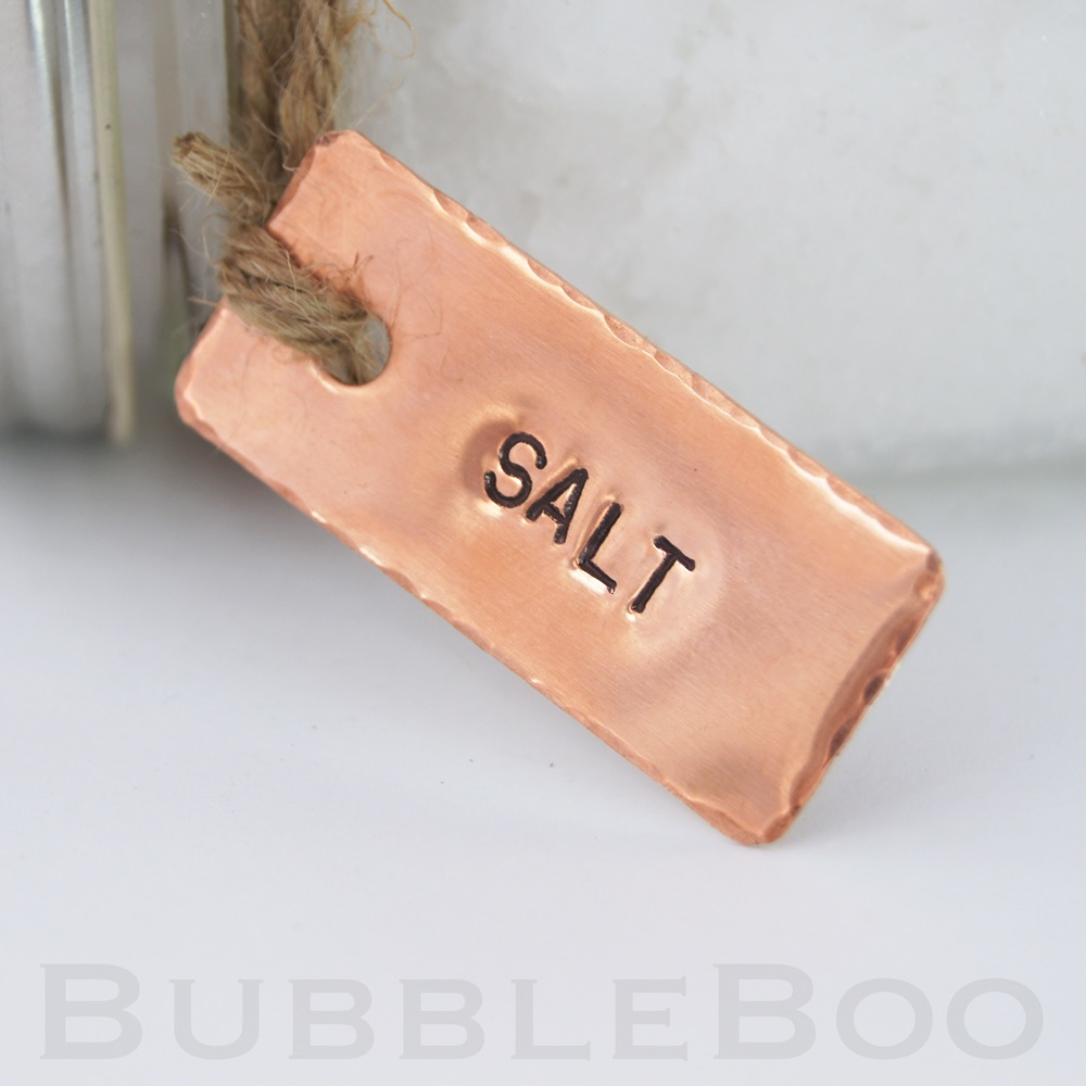 Copper Pantry Tags, Personalised Hand Stamped Copper, Kitchen labels, Tea,