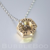 Brass Hex Nut Necklace.