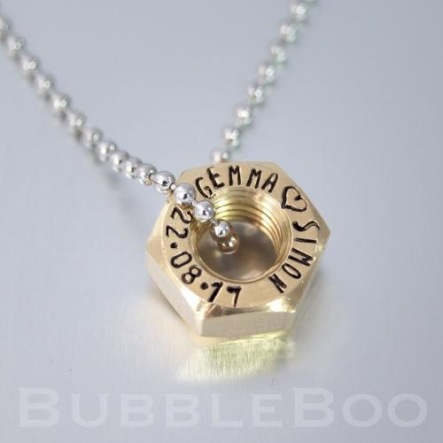 Brass Hex Nut Necklace.