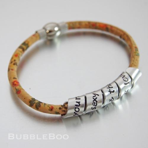 Spring Flowers Vegan Secret Message personalised bracelet