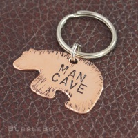 Man Cave Keyring. Hand-stamped copper bear.
