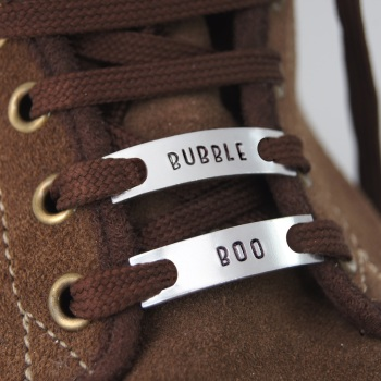 Personalised Trainer Tags, Pair. Skinny style.