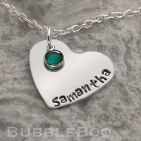Stamped Aluminium Heart Necklace