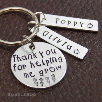 Teacher Gift Keyring - Thank You For Helping Me Grow