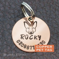 Pet Dog Id Tag - Handmade Copper Tag Personalised for Alsation, Corgi, Akita, Husky, Shepherd
