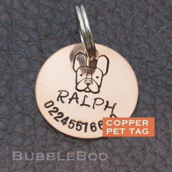 Pet Dog Id Tag - Personalised for Boston Terrier, French Bulldog and more.