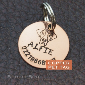 Pet Dog Id Tag - Handmade Copper Pet Tag personalised Vizsla, Setter, Pointer, Ridgeback, Labrador, Great Dane, Beauceron.
