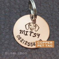 Pet Dog Id Tag. Handmade copper pet tag for Hound, Dachshund, Fox Terrier and more.