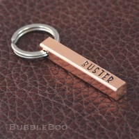 Pet Name Tag. Personalised polished natural copper bar.