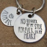 Pet Memorial Keyring. No Longer By My Side Forever In My Heart.