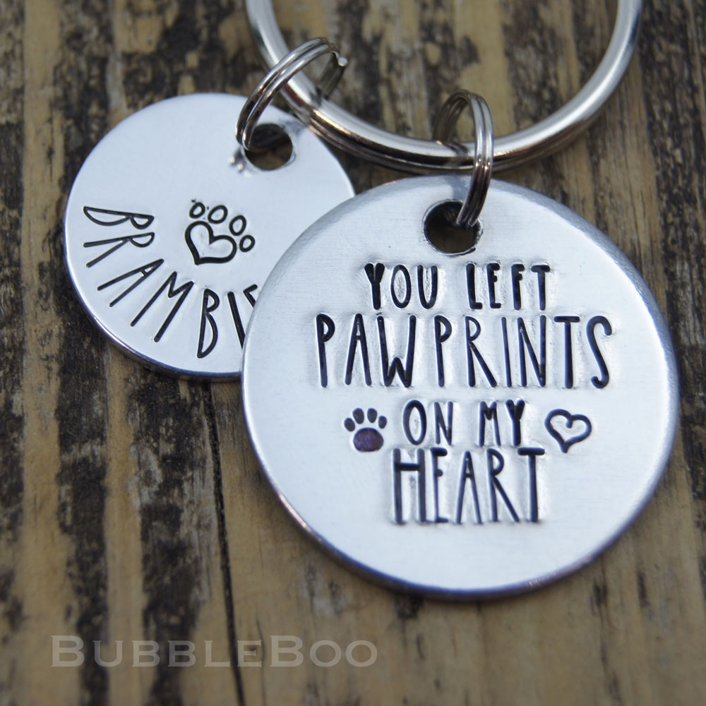 Pet Memorial Keyring. You Left Pawprints On My Heart