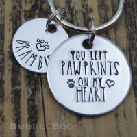 Pet Memorial Keyring. You Left Pawprints On My Heart