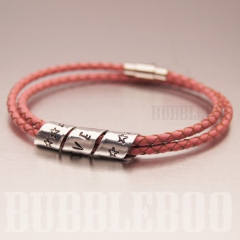 Secret Message Bracelet on Double Looped Leather