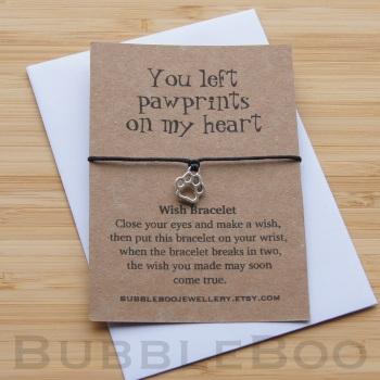 Pet Memorial Wish Bracelet - You Left Pawprints On My Heart