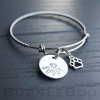Pet Memorial Bracelet personalised with pet name charm