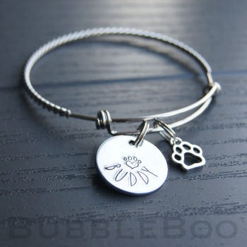 Pet Memorial Bracelet personalised with pet name charm