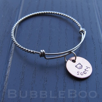 Cat Memorial Bracelet personalised with copper pet name charm