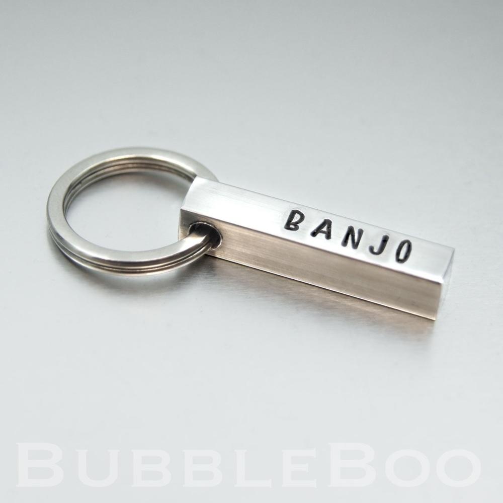 Pet Name Tag - Aluminium Square Bar - 30mm long