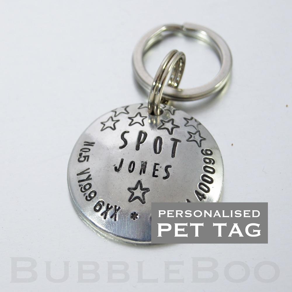 Pet Dog Name Tag. With Stars. Aluminium
