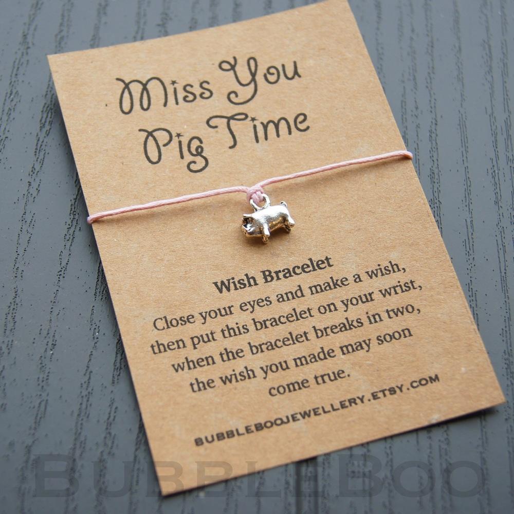 Miss You Pig Time Wish Bracelet