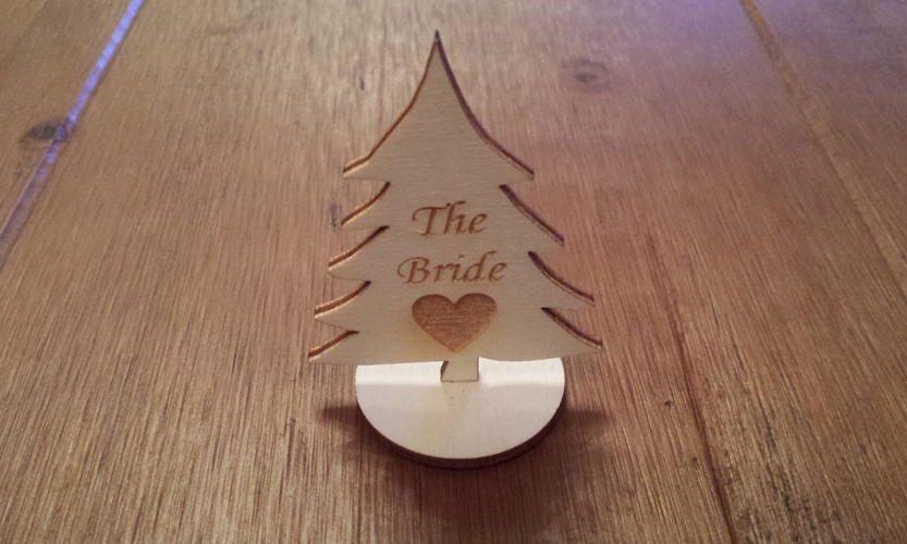Wooden Christmas Tree Table Name Plaques