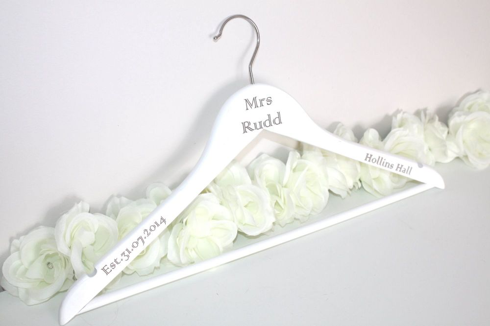 Peronalised White Bride Wedding Hangers