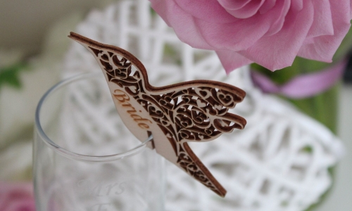 Wooden Humming Bird Place Name Setting for Champagne Glasses