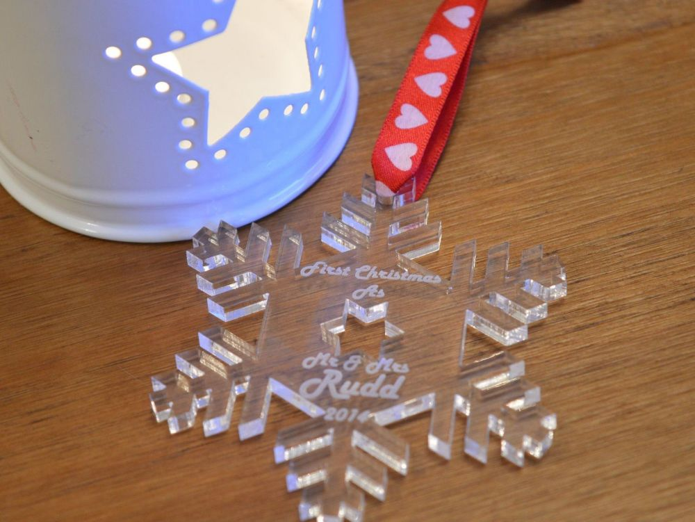 Personalised 1st Christmas As Mr & Mrs Snowflake Bauble