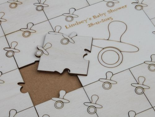 Baby Shower Guest Book Puzzle, Personalised Keepsake (Dummy)