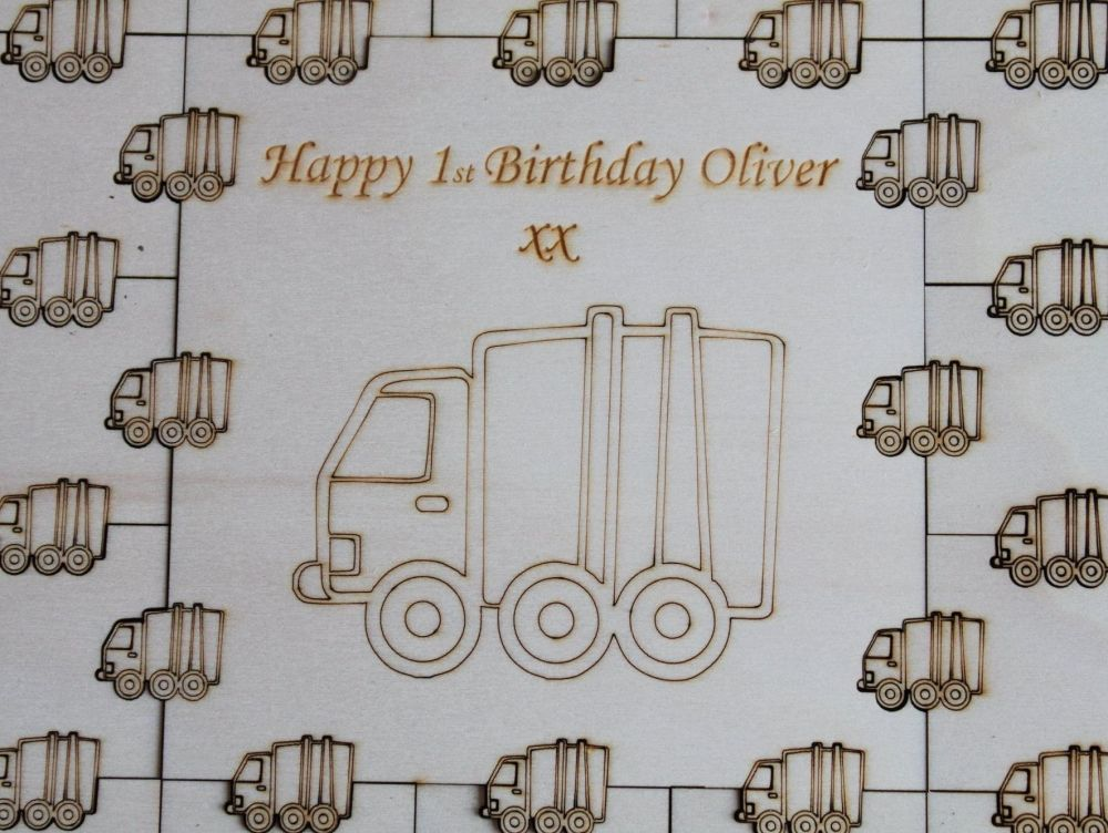 First Birthday Guest Book Puzzle, Personalised Keepsake (Truck)
