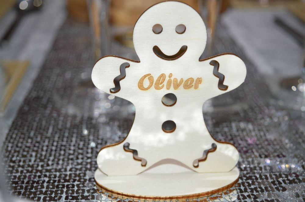 Personalised Table Name Settings, Gingerbread Man Design