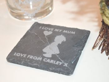 I Love My Mum Coaster (Girl)
