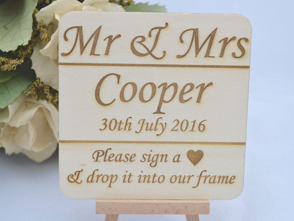 Personalised Wedding Drop Top Box Sign