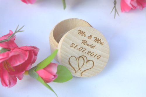 Personalised Ring Box, With Heart Design