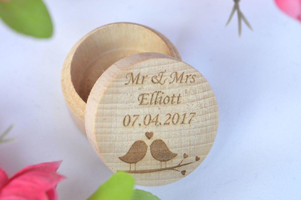 Wooden Wedding Ring Box  With A Love Bird Design