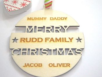 Personalised Family Christmas Bauble & Keepsake