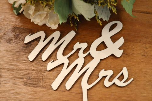 Mr & Mrs Wooden Cake Topper