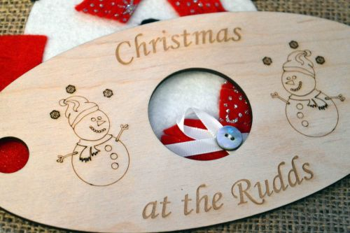 Personalised Wine Glass  And Bottle Holder With A Christmas Design.