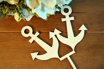 Anchor Wedding Cake Topper, Wooden Wedding Cake Decoration