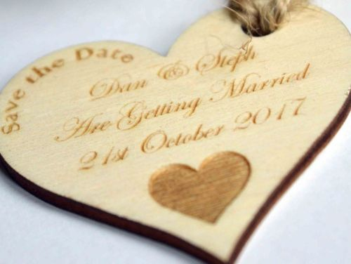 Save The Date Rustic Heart Shaped Tags