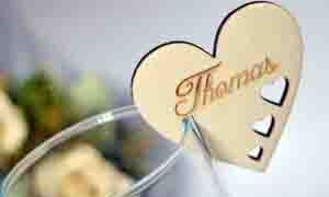 Wooden Heart Place Name Settings, Rustic Design.