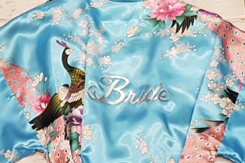 Bride Kimono Robe With Peacock Design